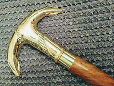 Anchor Handle Solid Brass Wooden Walking Stick Vintage Antique Walking Cane