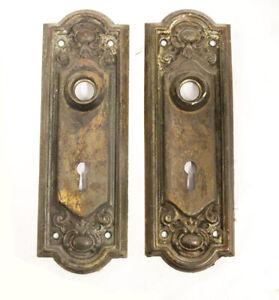 Antique Floral Design Door Hardware Salvaged Doorknob Back Plates Pairs