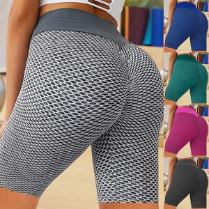 Damen Honeycomb High Taist Sport Shorts Stretch Push Up Fitness Yoga Strumpfhose