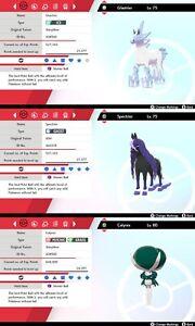 Non Shiny 6IV EV Trained Glastrier, Spectrier & Calyrex Pokémon Sword/Shield