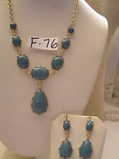 """2 Pc Set Turquoise blue Cabochon Necklace & pierced earring Jewelry Gold Pl 18"""""""
