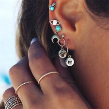 5Pcs Gold Simple Boho Evil Eye Palm Moon Earrings Set Women Lady Punk Earrings