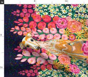 Garden Hound Portrait Dog Lover Greyhound Whippet Spoonflower Fabric by the Yard