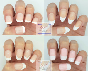 24X French Manicure False Nails. Full Cover Square, Coffin Nail Tips. UK