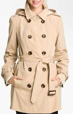 Calvin Klein Double Breasted Trenchcoat in Khaki Women's Hooded Raincoat large