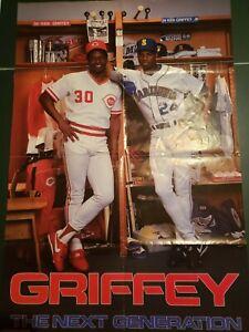 1989 VINTAGE COSTACOS BROTHERS POSTER KEN GRIFFEY JR SR NEXT GENERATION SEATTLE