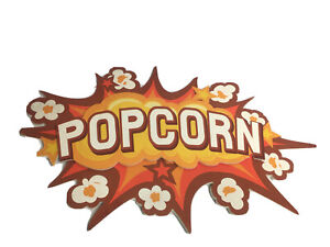 POPCORN WALL ART Movie Hanging Sign Theater Decor One Tip Broken