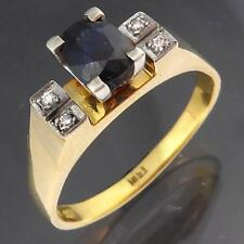Vintage 1970's Solid 18k Yellow & White GOLD SAPPHIRE & 4 DIAMOND RING Lge Sz T