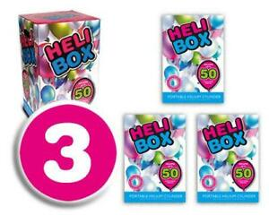 Heli Box Disposable Helium Canister Inflates (3 Canisters) 3pk x 50pcs Balloons