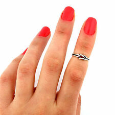 sterling silver knuckle ring Infinity love knot design adjustable midi ring T88