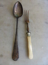 Antique cutlery silver plated basting spoon meat fork