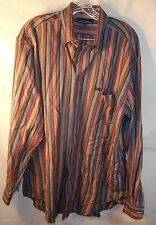 Faconnable Button Up Red Blue Striped Long Sleeve Dress Shirt Men's L