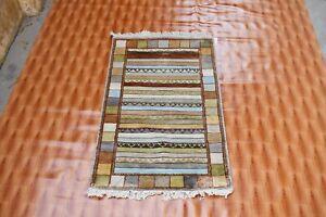 Hand Knottted Bohemian Bedroom Striped Design 2.6'x4' Silk Rugs Oriental Carpet