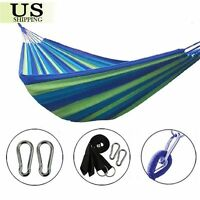 Portable Cotton Rope Camping Hanging Hammock Swing Canvas Bed Outdoor Fabric