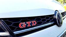 VW Golf 6 & 7 GTD Emblem FOLIE ROT GLANZ Schriftzug Aufkleber Front - Heck