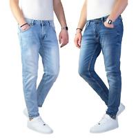 Jeans Uomo Slim Fit Pantalone Tasca america Blu Casual Elasticizzato