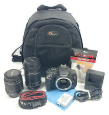 Canon EOS Rebel T3i 18.7MP DSLR Camera 55-250mm 18-55mm Backpack Charger Battery