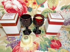 2 Avon Ruby Red 1876 Cape Cod Wine Goblet Candle Holder+2 Bayberry Candlette Nib
