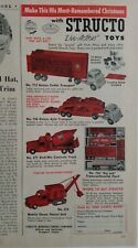 1956 vintage red structo toys cattle concrete truck transport steam shovel ad