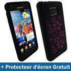 Noir Fleurs Silicone Etui pour Samsung Galaxy S 2 Sii i9100 Housse Coque Case