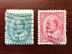 Canada 1903 Scott #89, 90  King Edward VII Used