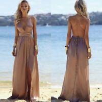 Women's Summer Deep-V Backless Evening Party Cocktail High Split Long Maxi Dress