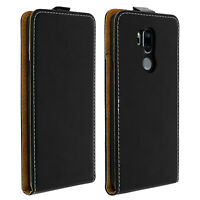 Vertical flip case, synthetic leather case for LG G7 ThinQ - Black