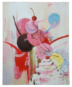 """1992 """"Pile"""" by Margaret Curtis Surrealist Oil on Board Ice Cream Cherry Nude 20"""""""