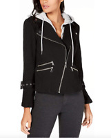 INC International Concepts Womens Hooded Moto Jacket (Deep Black, )