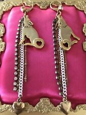 Betsey Johnson Vintage Indian Summer Gold Coyote Howling Wolf White Earrings