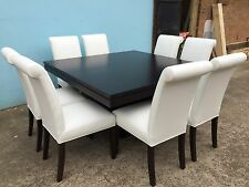 Local Made Tassie Oak 1500mm Square Table Set with leather chairs