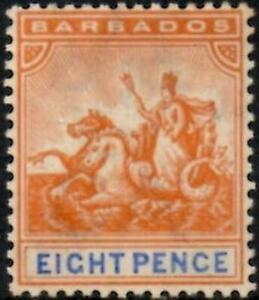 Barbados 1892-1903  8d Orange & Ultramarine  SG.112 Mint (Hinged)