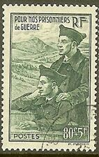 """FRANCE TIMBRE STAMP N° 474 """" PRISONNIERS GUERRE 80c + 5F """" OBLITERE TB"""