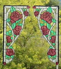 WICOART WINDOW STICKER CLING ART DECO VITRAIL DECAL CORNERS ANGLES ROSES LOT 2