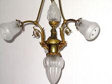Wunderschöne Antik Jugendstil Frazösische Messing-Glas  Kronleuchter, Lüster