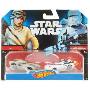 Star Wars Hot Wheels Rey First Order Flametrooper 2 Pack Cars Brand New DJM01