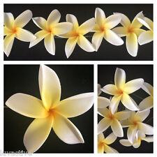 Hawaiian Pointed Petal Plumeria Foam Flower Hair Pick White Yellow