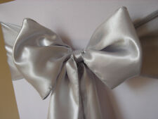 12x Silver Satin Chair Sashes Bows Ties Ribbon Wedding Banquet Party Venue Decor