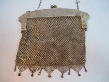 Vintage Silver Mesh Evening Bag Purse