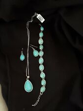 Howlite Hook Earrings, Bracelet and Pendant with chain stainless steel