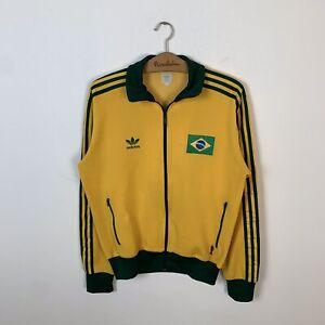 BRAZIL FOOTBALL TRACK TOP JACKET ADIDAS ORIGINALS SOCCER JERSEY WORLD CUP SIZE M