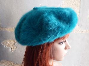 Béret vintage en laine angora bleu canard pour femme Taille 48 cm tour tête