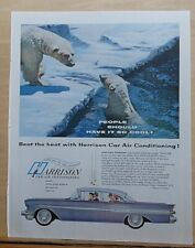 1957 magazine ad for Harrison Air Conditioning featuring Pontiac, polar bear