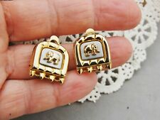 "Two-Tone Elephant Earrings Clip Gold / Silver 5/8""x 5/8"" Square Relief Modern"