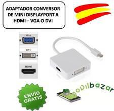 CABLE CONVERSOR ADAPTADOR MINI DP DISPLAYPORT MDP MACHO A HDMI VGA DVI ESPAÑA