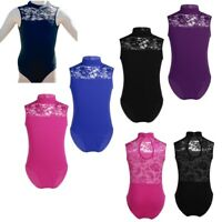 UK Girls Kids Gymnastics Leotard Ballet Dance Lace Back Jumpsuit Sleeveless