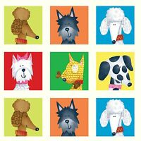 "Fabric Dogs Rule Patchwork Squares (90) 5 Rows White Cotton Panel 11.5""x42"""
