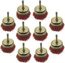 10 Nylon-Rundbürsten, Ø 75mm, für Bohrmaschine und Akkuschrauber, Schleifbürsten