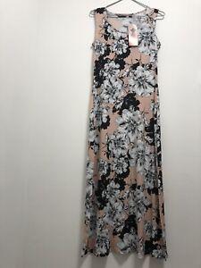 Nina Leonard Woman's Pink Blush Floral Jersey Maxi Dress Size S