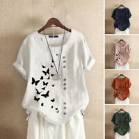 ZANZEA 10-24 Women Summer Top T Shirt Tee Butterfly Printed Short Sleeve Blouse